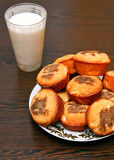 Golden Muffins And Milk Royalty Free Stock Image