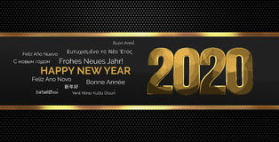 2020 golden multilingual happy new year. Illustration Stock Images