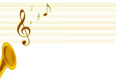 Golden music. A golden music notes from the saxophone Royalty Free Stock Images