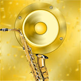 Golden music background Stock Photo