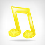 Golden music crystalline note 3D icon  Stock Images