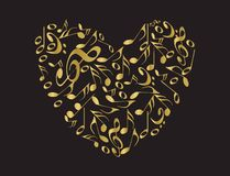 Golden Music heart Stock Photography