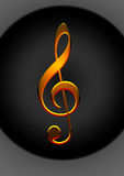 Golden Music Note. Reflective golden 3d music note in black background Royalty Free Stock Images