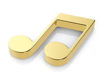 Golden music note symbol. On a white background Stock Photos