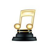 Golden music note trophy isolated on white Stock Image