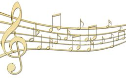 Golden Music notes Stock Images