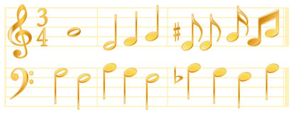 Golden Music Notes  Stock Image