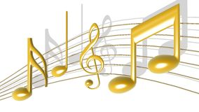 Golden Music Notes. Golden color 3D Illustrated image of music notes with strings Stock Images