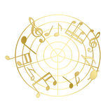 Golden music notes with gradient - vector. Eps 8 Royalty Free Stock Photo