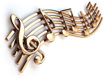 Golden music notes and treble clef on musical strings  o. N white. 3d illustration Royalty Free Stock Images