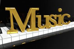 Golden Music Sign. Music Concept. Black piano keys with golden music sign Stock Image