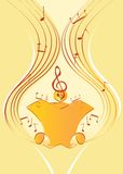 Golden musical background. With notes and treble clef Stock Image