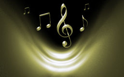 Golden Musical Background. Wit notes and music symbols Stock Images