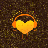 Golden Musical Heart Character Royalty Free Stock Images