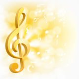 Golden musical key with notes Royalty Free Stock Photo