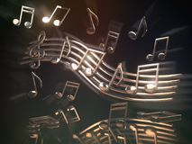 Golden musical notes and clef on the sheet.. Abstract musical ba. Ckground. 3d illustration Royalty Free Stock Photo