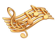 Golden musical notes. Royalty Free Stock Photos