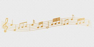 Free Golden Musical Notes Melody On Transparent Background Royalty Free Stock Photo - 167776085