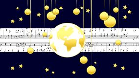 Golden Musical Score Merry Christmas stock video footage