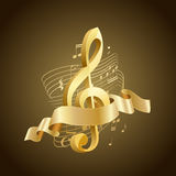 Golden musical treble clef with abstract lines and notes, ribbon. On brown background vector illustration
