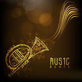 Golden musical trumpet with text. Stock Photography