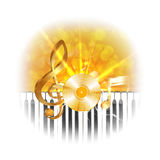 Golden musical vinyl plate with treble clef and piano keys, flash Royalty Free Stock Photo