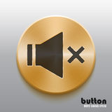Golden mute sound button with black symbol. Round mute sound button with black symbol and brushed golden metal texture isolated on gray background Stock Photos