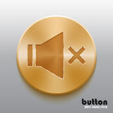 Golden mute sound speaker button. Round record button with golden brushed metal texture isolated on gray background Stock Photos