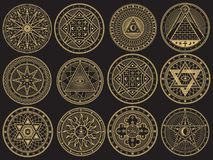 Free Golden Mystery, Witchcraft, Occult, Alchemy, Mystical Esoteric Symbols Royalty Free Stock Photo - 109237785