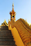 Golden naga stair Royalty Free Stock Photography