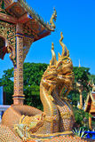 Golden Naga statue at the stairs in the temple Stock Image