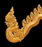 Golden Naga statue Thai art style Stock Images