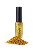 Golden nail polish with glitter Royalty Free Stock Image