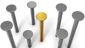 Golden nail between steel ones isolated on white. Background stock illustration