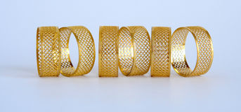 Golden napkin holders Royalty Free Stock Photos