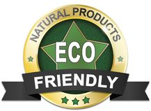 Golden natural product 100% eco friendly web medal. Golden natural product 100% eco friendly badge Stock Photos
