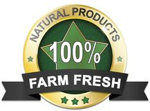 Golden natural product 100% farm fresh web medal. Golden natural product 100% farm fresh badge Stock Image