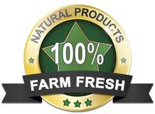 Golden natural product 100% farm fresh web medal Stock Image