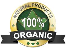 Golden natural product 100% organic web medal. Golden natural product 100% organic food badge vector illustration