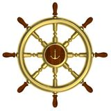 Golden nautical wheel isolated on white Royalty Free Stock Image