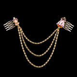 Golden necklace. With almandine and diamonds stock images