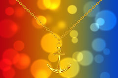 Golden Necklace with Anchor. 3d Rendering. Golden Necklace with Anchor on an abstract background. 3d Rendering Stock Photography