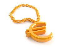 Golden necklace with euro symbol Stock Photos