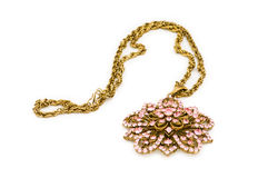 Golden necklace isolated Stock Photos
