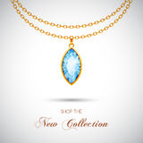 Golden necklace with pendant. Golden chain necklace with diamond pendant. Vector Illustration Stock Photography