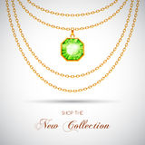 Golden necklace with pendant. Golden chain necklace with diamond pendant. Vector Illustration Stock Image
