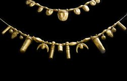 Golden necklaces from Tartessos Hoard of Aliseda. Replica currently kept at Interpretation Centre of Aliseda, Caceres, Spain. Aliseda, Spain - October 29, 2017 royalty free stock images