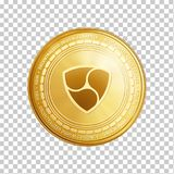 Golden NEM blockchain coin symbol. Golden NEM coin. Crypto currency blockchain coin NEM symbol isolated on trnsparent background. Realistic vector illustration Royalty Free Stock Photography