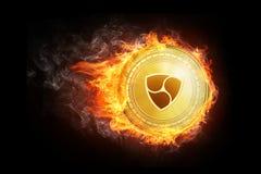 Golden NEM coin flying in fire flame.