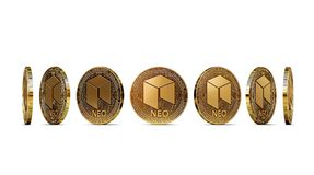 Golden NEO shown from seven angles isolated. On white background. Easy to cut out and use particular coin angle. 3D rendering royalty free illustration